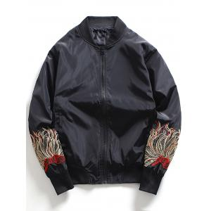Embroidered Zip Up Baseball Jacket - Black - 4xl