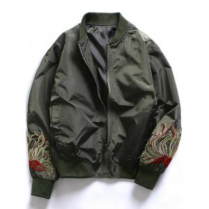 Embroidered Zip Up Baseball Jacket - Army Green - M