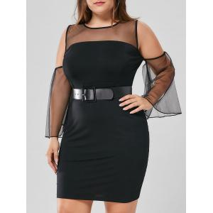 Plus Size Mesh Yoke Flare Sleeve Sheath Dress