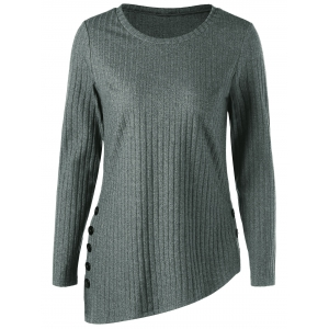 Asymmetric Side Button Ribbed Top