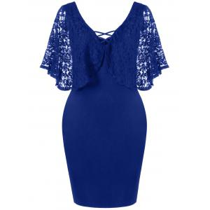 Lace Batwing Sleeve Plus Size Bodycon Dress - Deep Blue - Xl