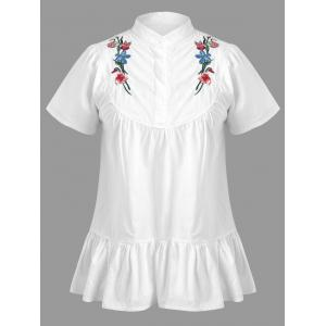 Plus Size Short Sleeve Floral Embroidered Top