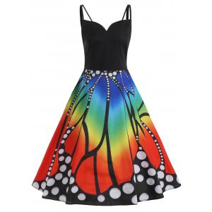 Spaghetti Strap A Line Plus Size Butterfly Print Dress