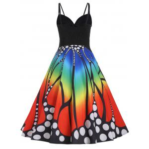 Spaghetti Strap A Line Plus Size Butterfly Print Dress -