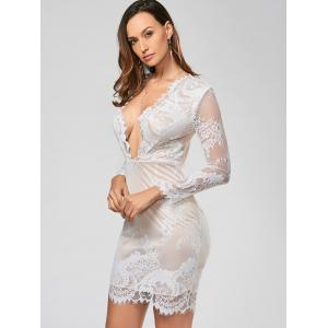 Sexy Plongeant Neck manches longues See-Through Flower Pattern Hot Dress -