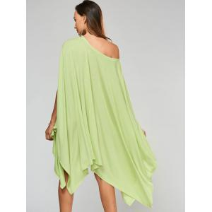 Stylish Scoop Neck Solid Color Asymmetrical Women's Dress - LIGHT GREEN 2XL