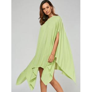Stylish Scoop Neck Solid Color Asymmetrical Women's Dress - LIGHT GREEN L