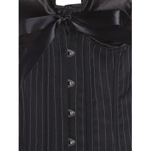 Striped Halter Corset Top with Bowknot - BLACK S