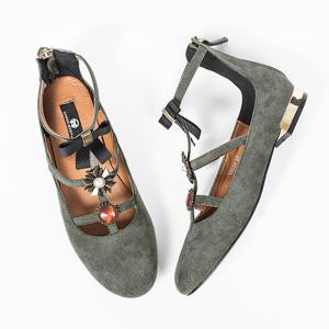 Bow and Rhinestone Round Toe T-strap Flats - Gray - 38