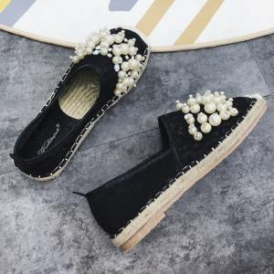 Faux Pearl Slip On Mesh Espadrille Flats -