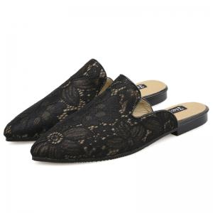 Point Toe Embroidery Lace Mules - BLACK 37