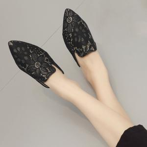 Point Toe Embroidery Lace Mules - BLACK 38