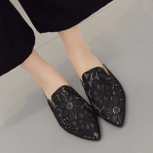 Point Toe Embroidery Lace Mules - BLACK 39