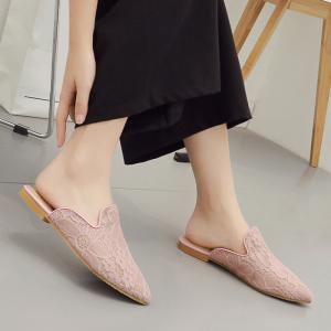 Point Toe Embroidery Lace Mules - LIGHT PINK 39