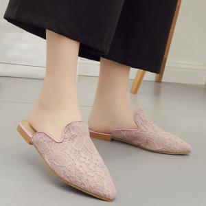 Point Toe Embroidery Lace Mules - LIGHT PINK 37