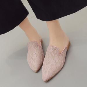 Point Toe Embroidery Lace Mules - LIGHT PINK 38