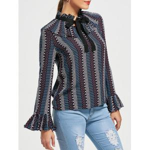 Bowknot Ruffle Neck Flared Sleeve Blouse - Colormix - Xl