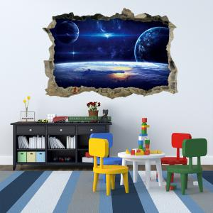 Galaxy Planets 3D Broken Wall Art Sticker For Bedroom