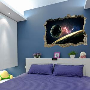 Planet 3D Broken Wall Art Sticker pour chambre à coucher - Multicolore 45*60CM