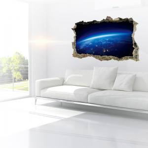 Planet Surface Removable 3D Broken Wall Art Sticker - BLUE 45*60CM