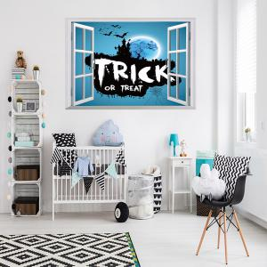 Halloween Trick Or Teart Removable 3D Wall Art Sticker - ICE BLUE 50*70CM