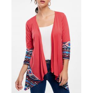 Asymmetric Long Sleeve Tribal Print Cardigan