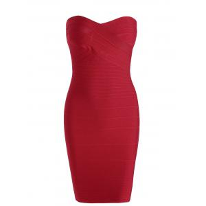 Strapless Sheath Bodycon Bandage Dress - Red - S