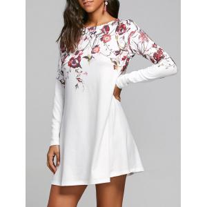 Flower Print Long Sleeve T-shirt Shift Dress - White - M