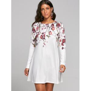 Flower Print Long Sleeve T-shirt Shift Dress - WHITE L