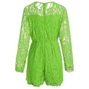 Plus Size Lace Panel See Thru Romper - GREEN 2XL