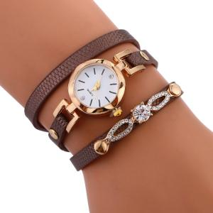 Rhinestone Faux Leather Strap Wrap Bracelet Watch