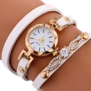 Rhinestone Faux Leather Strap Wrap Bracelet Watch -
