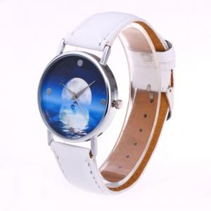 Faux Leather Strap Sea Moon Face Watch - Blanc