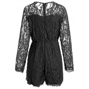 Plus Size Lace Panel See Thru Romper - BLACK XL