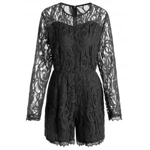 Plus Size Lace Panel See Thru Romper - Black - Xl