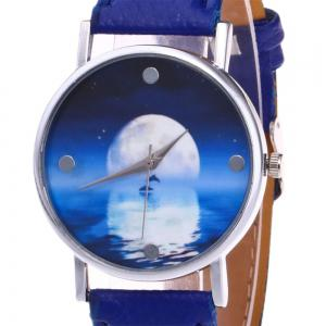 Faux Leather Strap Sea Moon Face Watch - Bleu