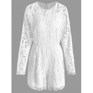 Plus Size Lace Panel See Thru Romper - White - 3xl