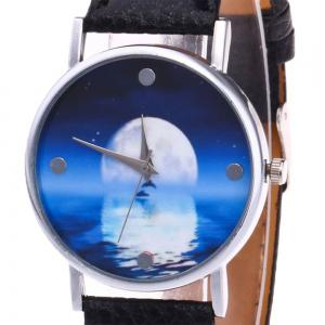 Faux Leather Strap Sea Moon Face Watch - BLACK