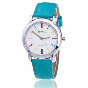 Faux Leather Band Round Analog Watch