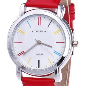 Faux Leather Band Round Analog Watch - RED
