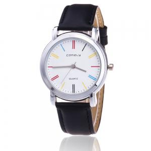 Faux Leather Band Round Analog Watch - Black