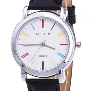 Faux Leather Band Round Analog Watch -