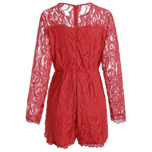 Plus Size Lace Panel See Thru Romper - RED 2XL