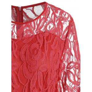Plus Size Lace Panel See Thru Romper - RED XL