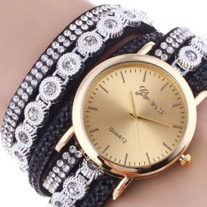 Layered Rhinestoned Wrap Bracelet Watch - BLACK