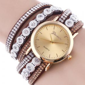 Layered Rhinestoned Wrap Bracelet Watch -