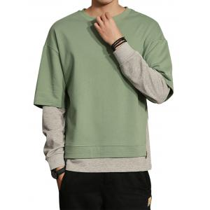 Color Block Layered Crew Neck Sweatshirt