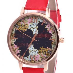Floral Letter Face Faux Leather Strap Watch - RED