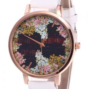 Floral Letter Face Faux Leather Strap Watch - WHITE
