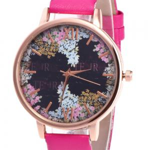 Floral Letter Face Faux Leather Strap Watch -